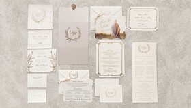 Wedding monogram on wedding invitation suite items gold details white stationery save the date photo