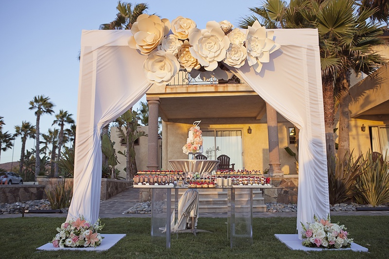 White canopy with flower decorations over wedding cake and dessert table with 200 bite size sweets : wedding ceremony canopy - memphite.com