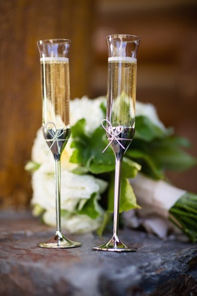 Bride and groom golden Champagne glassware