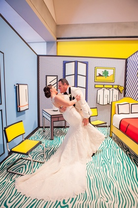 bride in martina liana trumpet gown, groom in white tuxedo jacket, roy lichtenstein exhibit