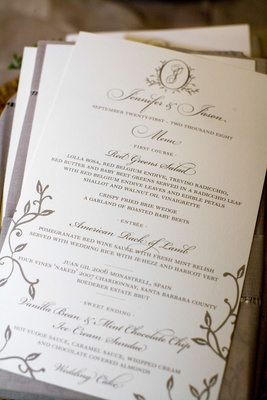 Wedding stationery menu card with brown ink