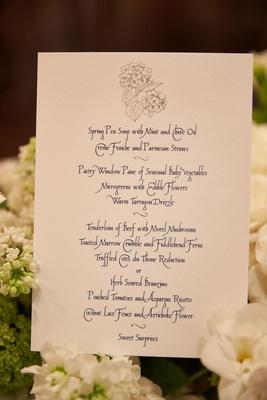 Blue and white silver menu card calligraphy script menu selections