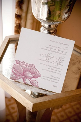 Wedding invitation square card with pink flower design