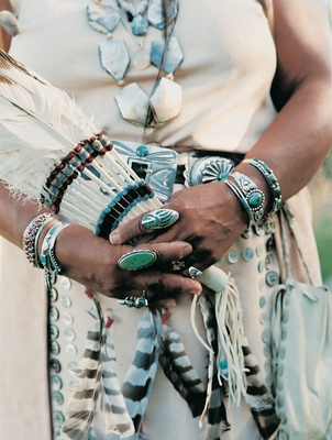 Julie Tamawiut turquoise and silver rings and bracelets