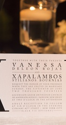 Black and white wedding invitation with Roman numeral XV