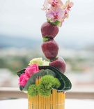 Teacher school theme bridal shower pencil vase with pink roses green moss red apples pink orchids