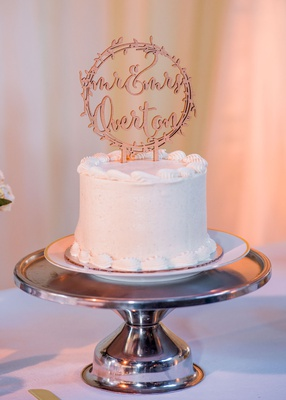 wedding cake small one layer tier on cake stand mr and mrs laser cut cake topper wood