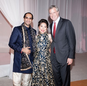 famous wedding guest mayor of new york city bill de blasio with newlyweds