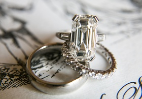 Wedding engagement ring emerald cut diamond engagement ring with side stones wedding bands diamonds