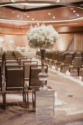 Wedding ceremony entrance persian wedding ceremony mirror riser tall vase with white flowers