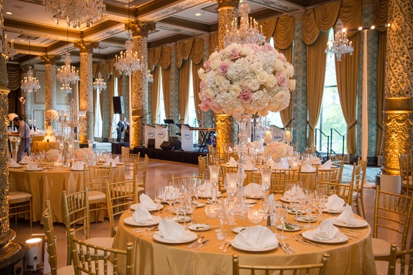 Classic wedding at the drake hotel gold coast room blush and ivory flower arrangements
