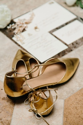 Bride's gold wedding day flats t strap pump flats pointed toe pointy toe gold metallic