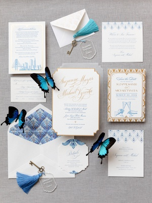 art deco inspired invitated suite with blue san francisco skyline