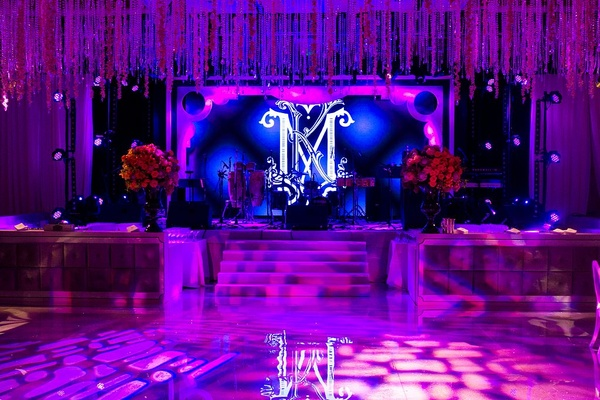 Dance floor in front of band's stage with monogram LCD screen