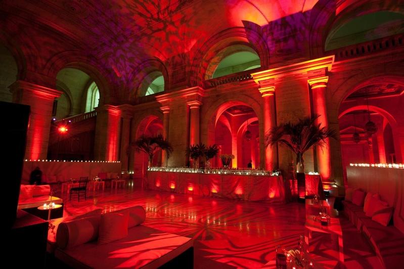 New York Public Library venue red lighting bar