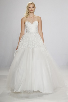 Christian Siriano for Kleinfeld Bridal strapless sweetheart neckline ball gown with lace overlay