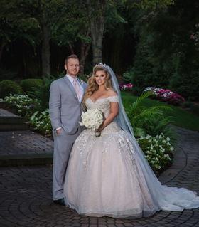 wedding portrait of ashley alexiss and travis yohe drop waist ball gown wedding dress tiara