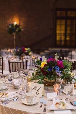 small vibrant centerpiece flowers dayton ohio wedding art institute reception vintage dutch masters