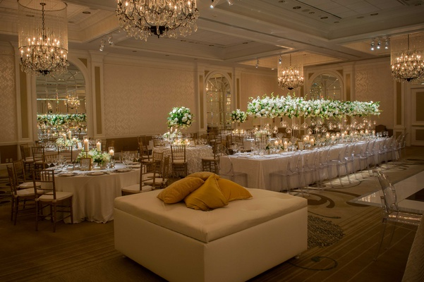 varying long and round white tablescapes with tall centerpieces champagne colored lounge furniture