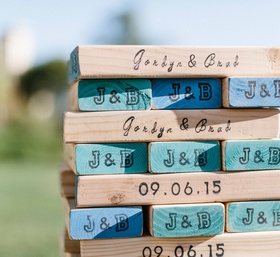 Wedding guestbook alternative Jenga wood blocks with wedding date and initials
