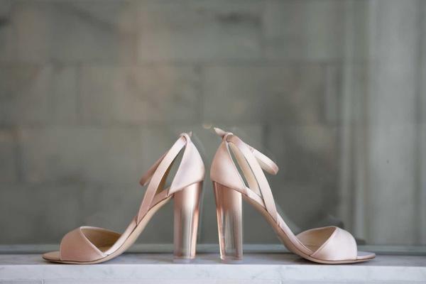 monique lhuillier blush leather sandal rose gold to clear ombré lucite heel