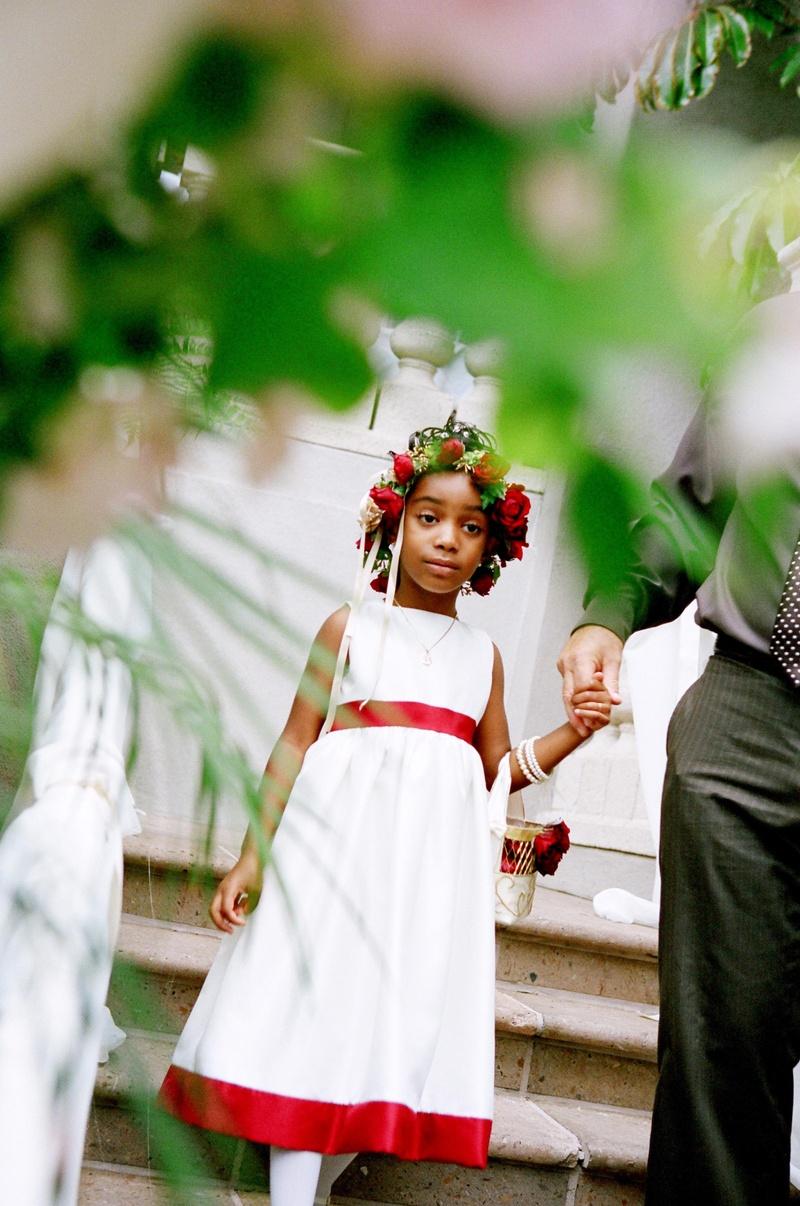 Flower Girls Ring Bearers Photos Red And White Flower Girl Dress