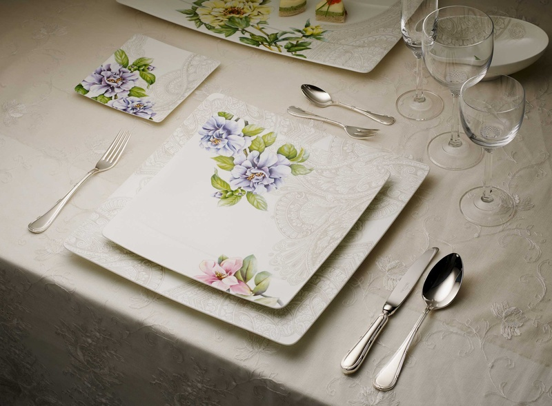 Villeroy   Boch Quinsai Garden white china square plates with purple pink  and green floral detailing. Pre Wedding Brunch  Spring Awakening Line from Villeroy   Boch