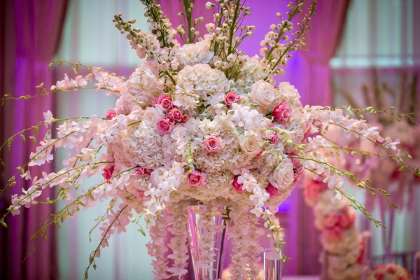ashley alexiss wedding reception centerpiece white dendrobium orchid pink rose white hydrangea