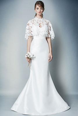 ROMONA by Romona Keveza Fall 2018 flare wedding dress with capelet lace