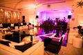 wedding reception ballroom for dancing purple pink lighting monogram dance floor black white lounge