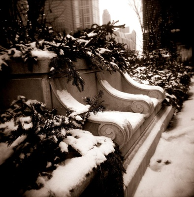 Black and white photo of winter in Chicago