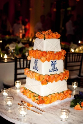 Square cake with monogram and roses