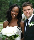 Actress Enuka Okuma and musician Joe Gasparik's wedding portrait