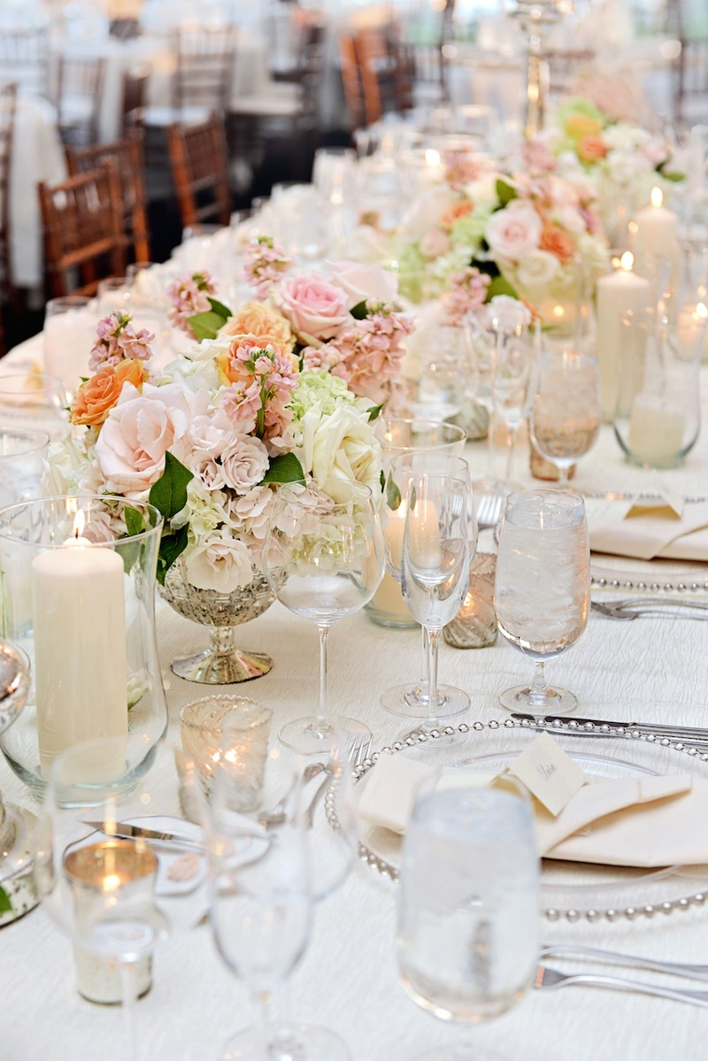 Reception d cor photos mercury glass vases with peach - Glass vases for wedding table decorations ...