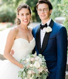wedding portrait for second wedding in germany strapless ball gown tulle skirt blue and black tuxedo