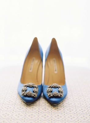 Something blue wedding shoes with crystal buckle by Manolo Blahnik