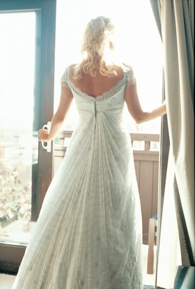 back view of wedding dress with cap sleeves