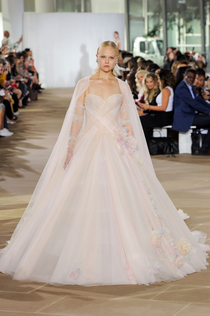 Ines Di Santo fall 2019 bridal collection wedding dress Lorelei pastel tulle ball gown 3D florals
