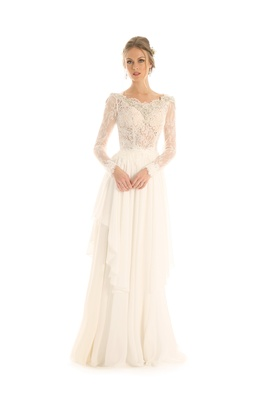 0941ad37b155 Eugenia Couture Joy Collection fall 2017 wedding dress Maisy long sleeve  lace bodice chiffon skirt.
