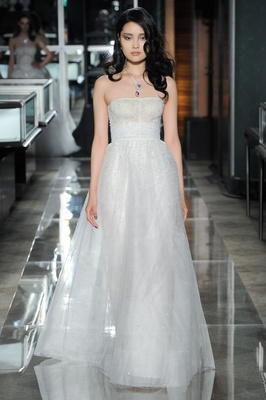 A crystal-and-sequin embroidered gown with a Chantilly lace waistband by Reem  Acra 000ee8c06