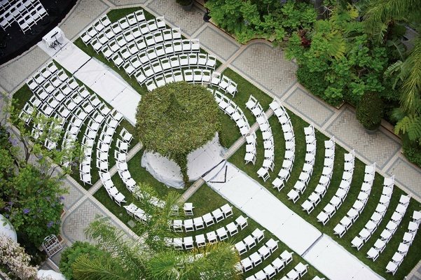 Bird's-eye view of large outdoor wedding