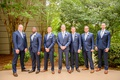 Groomsmen in blue suits silver ties with dark brown dress shoes wedding georgia