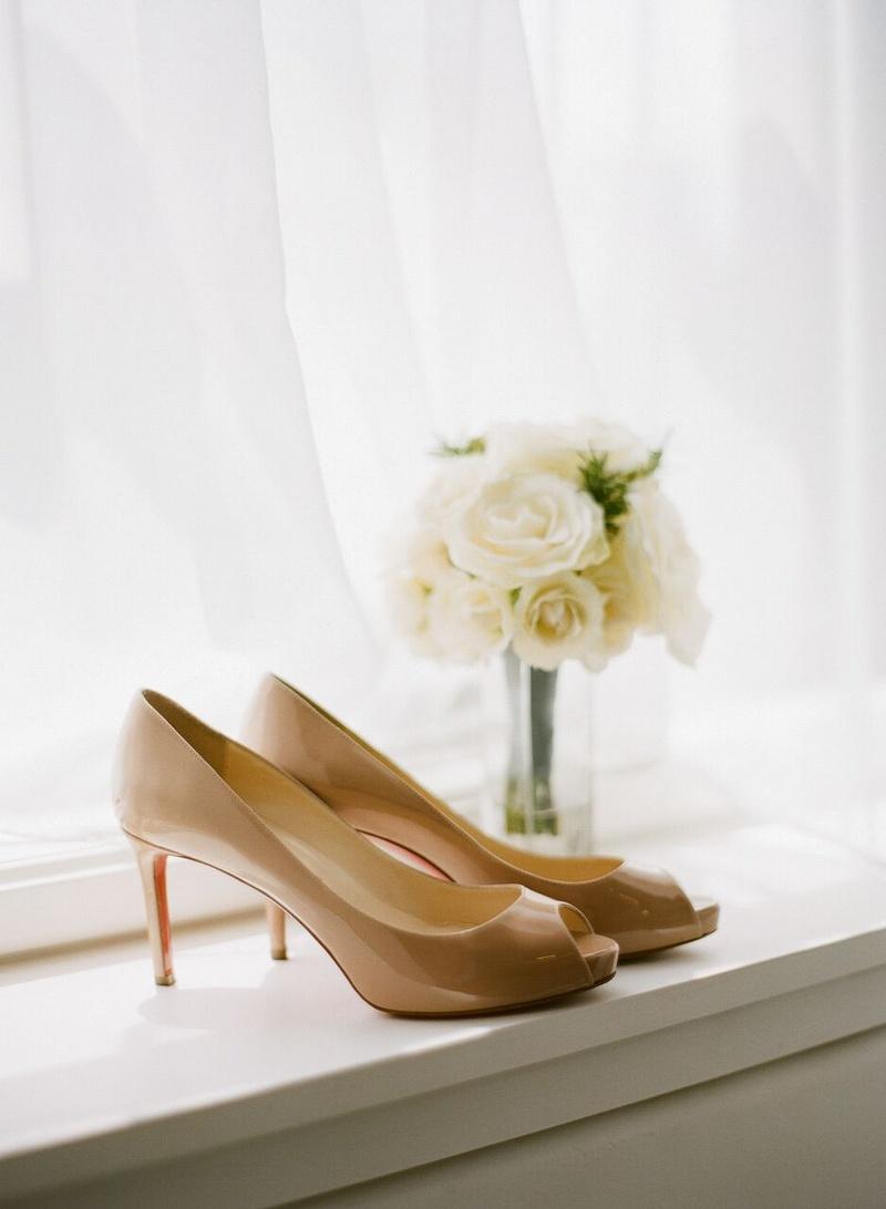christian louboutin nude peep toe pumps, patent leather