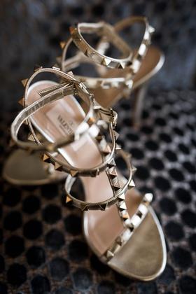 valentino pyramid stud sandals metallic design for boho chic wedding