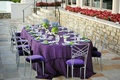 Textured tablecloth and crystal centerpieces