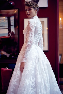 Isabelle Armstrong fall 2018 wedding dress Amparo long sleeve ball gown flower embroidery buttons