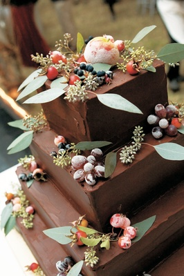 Autumn theme chocolate wedding cake with sugar fruit