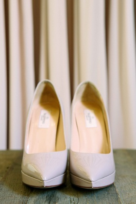 Pointed-toe, patent leather, off white Valentino bride's pumps