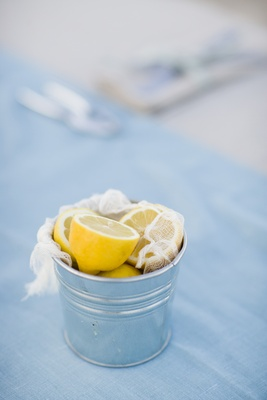 Cut lemons in a bucket