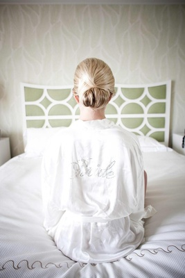 White robe with bedazzled Bride design